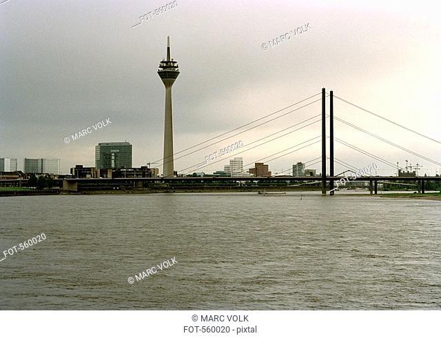 Rheinknie Bridge and Rheinturm Tower, Dusseldorf, Germany