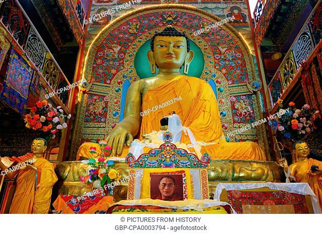 India: Sakyamuni Buddha image at Tawang Monastery, Arunachal Pradesh