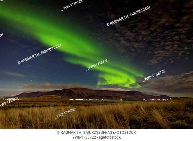 Aurora Borealis over Mt Esja, Reykjavik, Iceland
