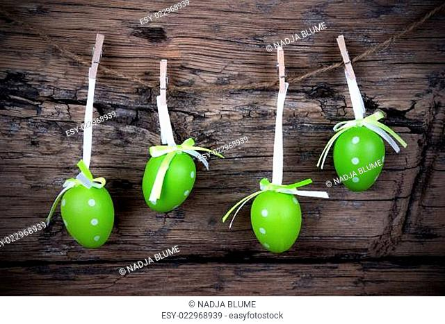 Four Green Easter Eggs With Frame