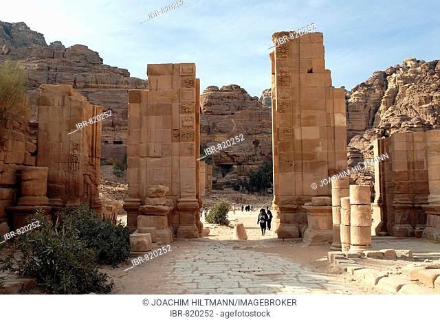 Temenos Gate, triumphal arch and entrance to the temple area of the ancient Nabataean rock city of Petra, Jordan, Middle East, Asia
