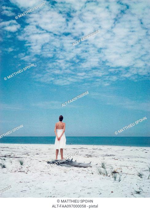 Woman standing at the beach, looking at horizon, rear view