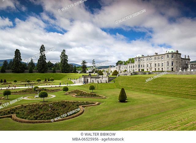 Ireland, County Wicklow, Enniskerry, Powerscourt Estate, Powerscourt House from the Italian Gardens