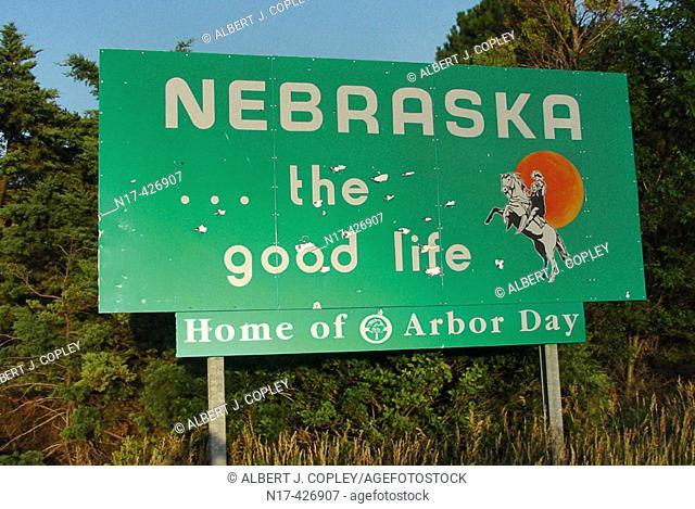 Nebraska welcome sign, USA