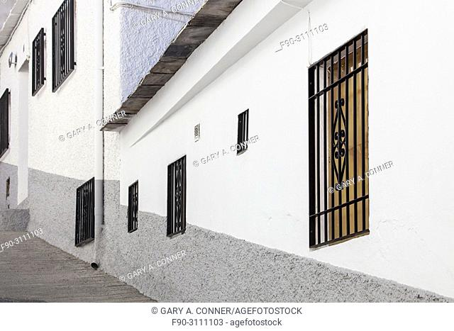 Typical building patterns at small mountain village of Capileira, Spain
