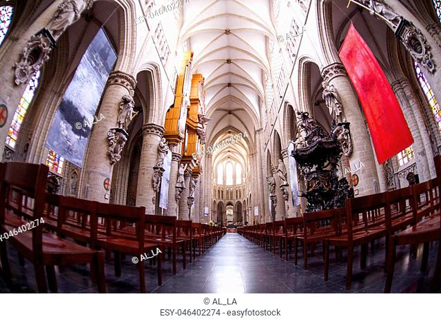 Interior of St. Michael and St. Gudula Cathedral - Roman Catholic church on the Treurenberg Hill in Brussels, Belgium
