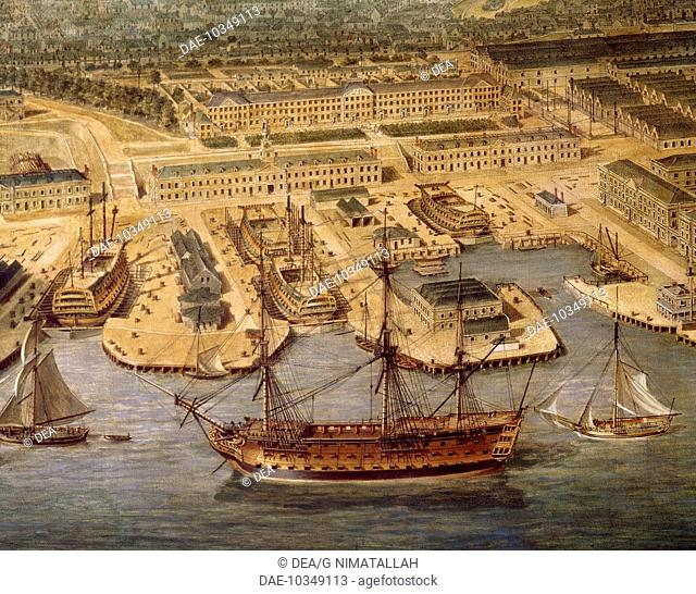 Shipyards in Plymouth. Detail. England, 18th century.  London-Greenwich, National Maritime Museum