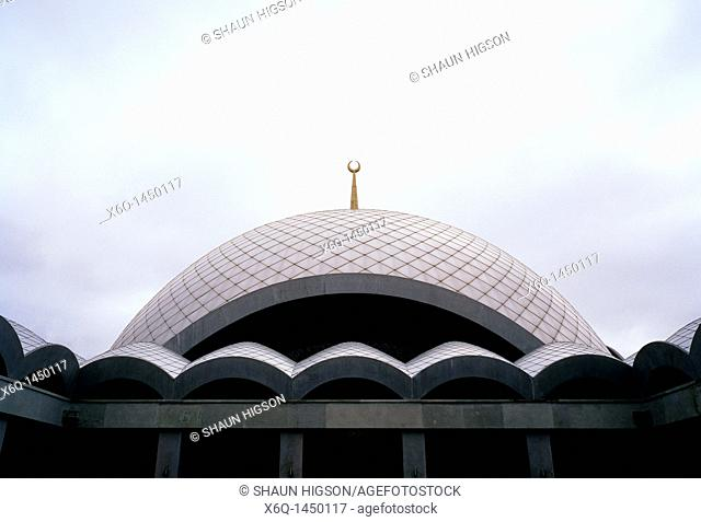 The modern Sakirin Mosque in Karaca Ahmet Cemetery in Uskudar, Istanbul, Turkey