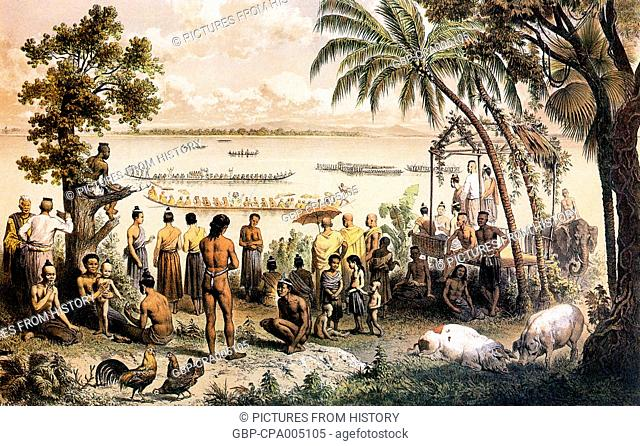Cambodia: Pirogue boat races on the Bassac River, 1866-67