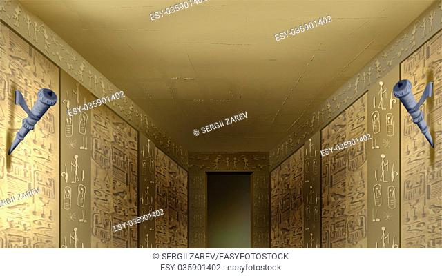 Digital painting of the hieroglyphics on the walls of Egyptian temple