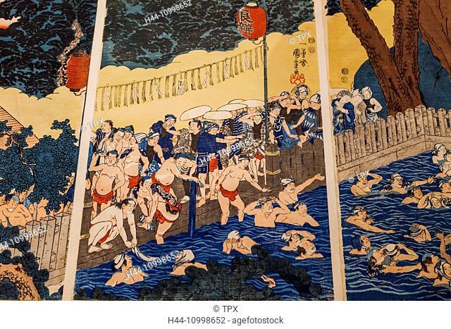 England, London, Kensington, Victoria and Albert Museum aka V&A, The Japan Room, Display of Woodblock Print titled The Roben Waterfall at Oyma by Utagawa...