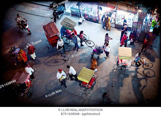 Life in the City. Night view of a street in central New Delhi, India, Asia