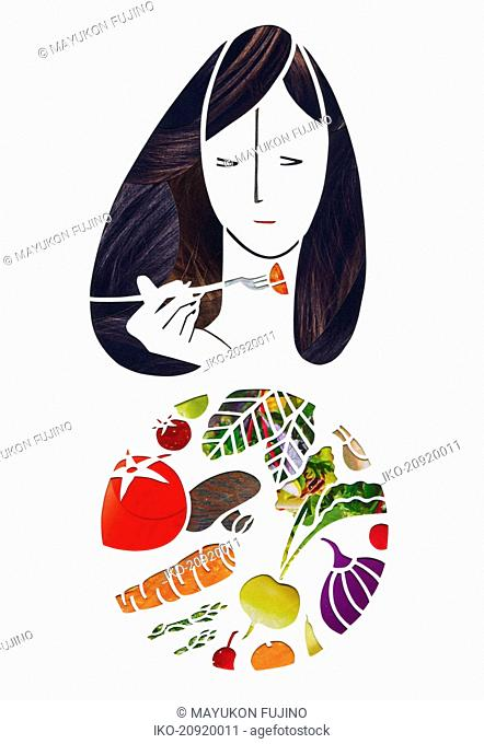 Woman eating fresh vegetables with fork from plate