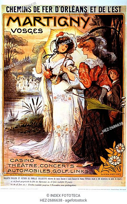 Poster advertising French railways of Orleans and of the East, promoting the city of Martigny