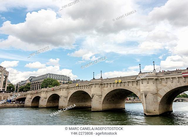 Pont Neuf New Bridge is the oldest standing bridge across the river Seine in Paris, France