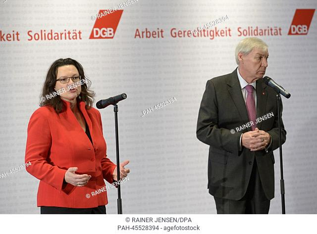 German Labour Minister Andrea Nahles and Confederation of German Trade Unions (DGB) Chairman Michael Sommer make a statement to the press after their talks in...