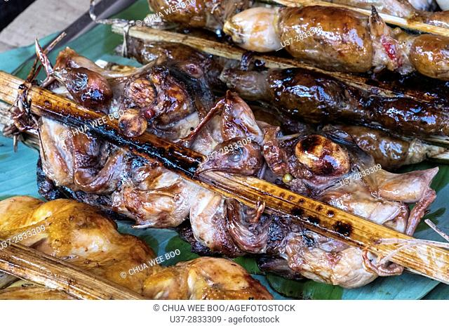 Grilled chicken skewer, a popular snack for Cambodian people, Siem Reap, Cambodia