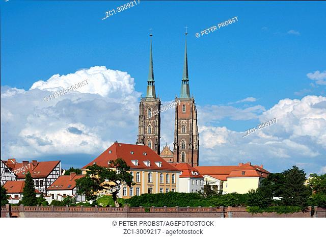 Cathedral of St. John the Baptist on the Cathedral Island (Ostrow Tumski) of Wroclaw in Poland