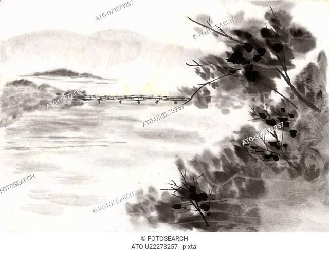 Bridge and Riverscape, Ink Painting, Vignette