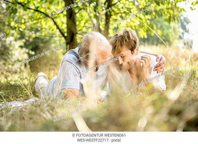 Happy senior couple hugging in meadow
