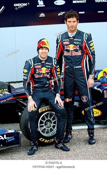 Sebastian Vettel GER, Mark Webber AUS, Launch, Red Bull, Valencia, Spain, 2011