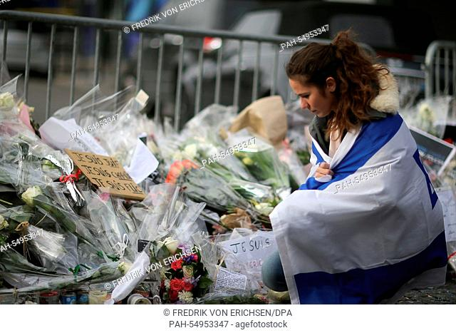 Esther Bekerman, a Parisian Jewish woman, visits the scene of the hostage-taking in the east of Paris, France, 12 January 2015