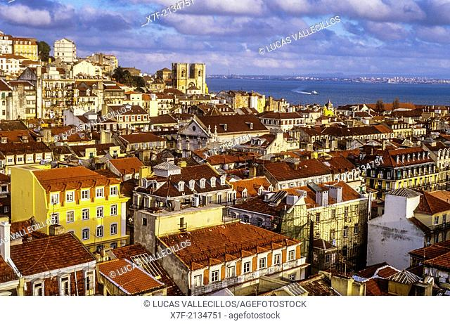 Overlooking Baixa and Alfama, Lisbon, Portugal