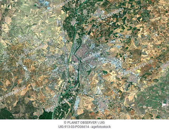 Colour satellite image of Seville, Spain. Image taken on August 28, 2014 with Landsat 8 data