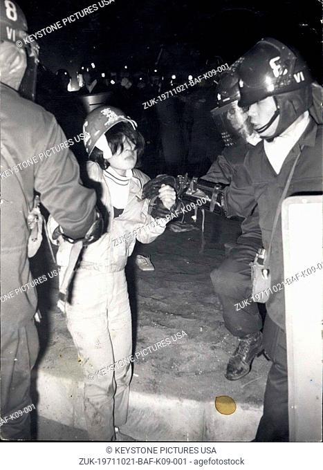 Oct. 21, 1971 - International Antiwar Day: Street battle mark Tokyo event 400 leftist students were arrested , 21, 0000 demonstrated against Japan-US treaty of...