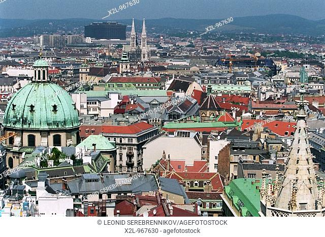 Aerial view of Vienna from the top of St  Stephen's Cathedral  Austria