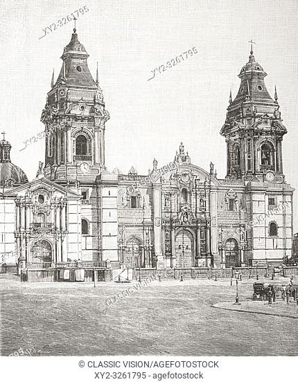 The facade of The Basilica Cathedral of Lima, aka Lima Cathedral, Lima, Peru, seen here in the late 19th century. From La Ilustracion Espanola y Americana