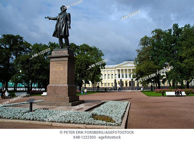 Statue of Alexander Pushkin at ploshchad Iskusstv Arts Square central St Petersburg Russia Europe