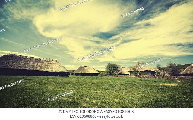 Vintage village house, abstract seasonal backgrounds