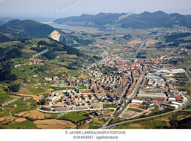 Gernika, Urdaibai biosphere reserve in background, Biscay, Basque country, Spain