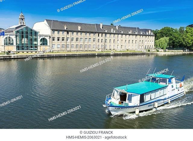 France, Meurthe-et-Moselle, Pont-a-Mousson, the banks of the Moselle river, the market and Helene Bardot secondary school
