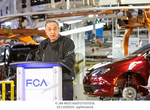 Windsor, Ontario Canada - Fiat Chrysler Automobiles CEO Sergio Marchionne speaks at the company's Windsor Assembly Plant