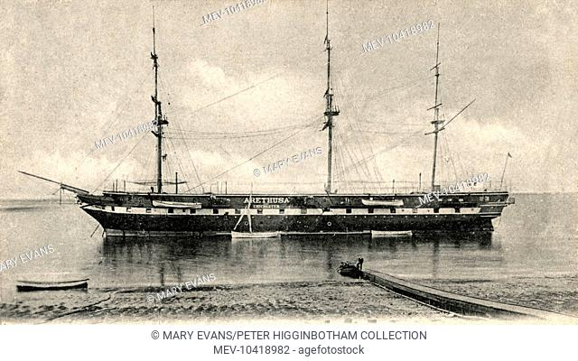 The training ship Arethusa and Chichester operated by the National Refuge for Homeless and Destitute Children, a charity founded in 1843 by William Williams