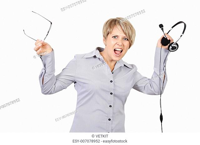 angry shouts into microphone businesswoman