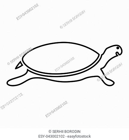 Tortoise turtle icon black color vector illustration flat style simple image