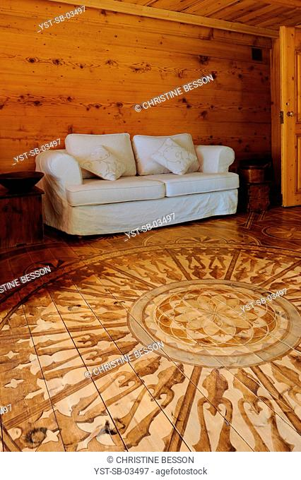 Painted parquets with exclusive technique, floor, wood, Annecy, Rhône-Alpes, France