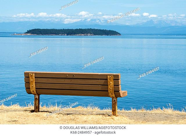 A bench with a view to the east at East Point Park, Saturna Island, Gulf Islands, British Columbia, Canada
