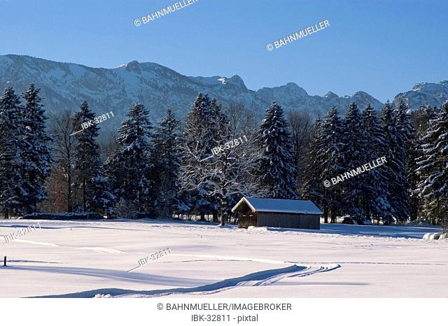Chapel in the winter landscape near Wackerberg Bad Toelz Upper Bavaria Germany