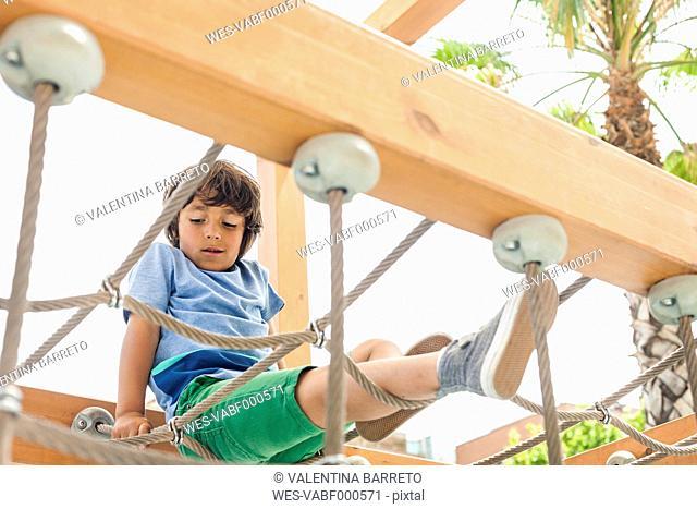 Little boy climbing on hanging bridge of a playground