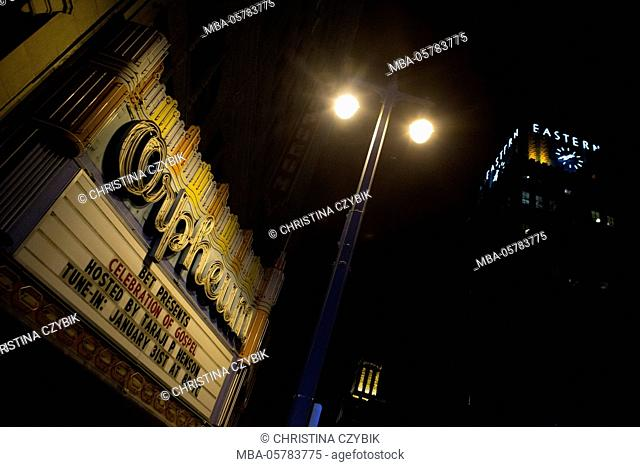 LA Noir: Downtown Los Angeles at Night - Orpheum Marquee on Broadway