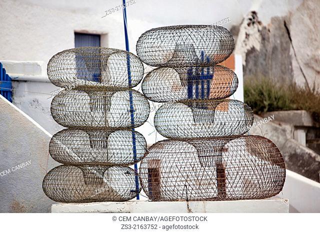 Traditional fishing nets in Oia village, Santorini, Cyclades Islands, Greek Islands, Greece, Europe