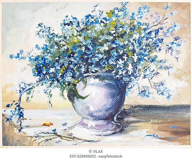 "Spring blue flowers """" forget me not"""" ((Myosotis)) bouquet in ceramic vase still life oil art handmade painting"