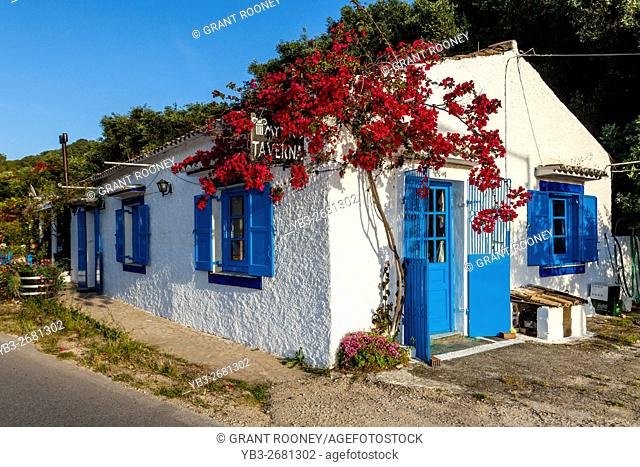 Colourful Taverna, Acharavi, Corfu Island, Greece