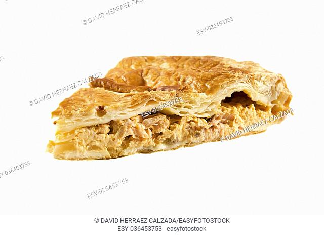 Delicious salmon pie over white isolated background