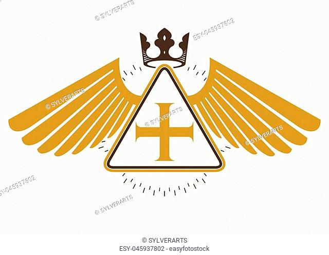 Vintage decorative heraldic vector emblem composed with eagle wings, Christian religious cross and royal crown