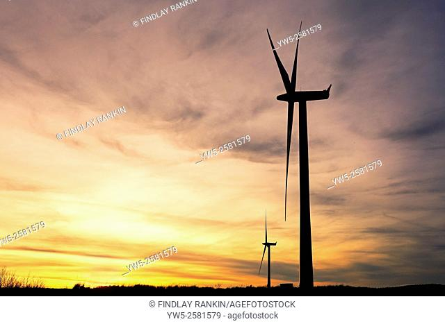 Two wind turbines generating electricity, Whitelee Wind turbines, Eaglesham, near Glasgow, Scotland, UK